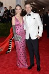 Olivia Wilde in a pink embellished & embroidered Prada column gown & Jason Sudeikis at the 2015 Met Gala. 01.
