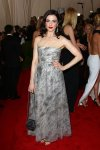 Rachel Weisz in a silver strapless breaded gown by Chanel at the 2015 Met Gala. 01.