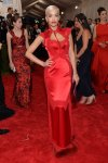 Rita Ora in a red modern kimono-inspired dress by Tom Ford at the 2015 Met Gala. 01.