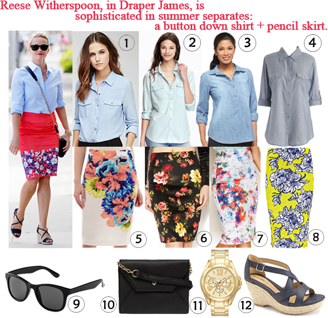 Darling of the Day - Reese Witherspoon in Draper James. 1. snap button down skirt ($19.90) in blue @Forever 21, 2. chambray shirt ($15.00) in light wash @Old Navy, 4. short sleeve shirt ($23.99) in blue @ModCloth, 3. chambray shirt ($22.99) @Target, 5. Worthington pencil skirt ($12.99) in multi @JC Penney, 6. floral pencil skirt ($22.00) in black floral @Shoptiques, 7. Thalia Sodi floral pencil skirt ($29.99) in blue combo @Macy's, 8. floral midi pencil skirt ($16.00) in yellow floral @Boohoo, 9. sunglasses ($3.00) in black @H&M, 10. heart crossbody bag ($17.00) in black @Dorothy Perkins, 11. bangle watch ($11.99) in gold @Kohl's, & 12. platform wedges ($25.99) in navy @Kohl's.
