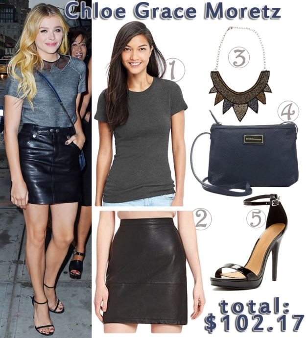 Chloe Grace Moretz in a faux-collard knit tee & black leather mini skirt, both by Coach, with a navy Coach crossbody bag & black ankle strap sandals at the Coach 2015 Summer Party on the Highline. 1. crew-neck tee ($7.50) in charcoal @Old Navy, 2. French Connection faux leather mini skirt ($44.80) in black @Dillard's, 3. bib necklace ($12.25) @Swell, 4. BCBGeneration crossbody Zooey bag ($17.39) in navy @Bluefly, & 5. Michael Antonio ankle strap sandals ($20.23) in black @Nordstrom Rack.