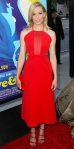 Elizabeth Banks in a red Osman halter dress with a mesh panel front with a red clutch & satin Sophia Webster sandals. at the L.A. premiere of Love and Mercy.