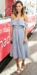 Jamie Chung in an off-the-shoulder Reformation shirt dress with ankle-tie Loeffler Randall sandals at the Sally Beauty Mobile Nail Studio.