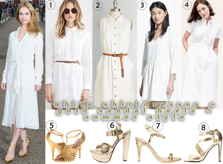 Lily James in a white shirtdress by Ralph Lauren Collection with gold gilded sandals. 1. belted shirtdress ($22.90) @Forever 21, 2. sleeveless shirtdress ($32.99) @ModCloth, 3. flared shirtdress ($29.99) @MANGO, 4. short sleeved shirtdress ($49.99) @LOFT, 5. t-strap sandals ($21.59) @6PM, 6. platform heels ($27.00) @Lulu's, 7. ankle strap sandals ($29.90) @Forever 21, & 8. strappy peep toe heels ($18.99) @Charlotte Russe.
