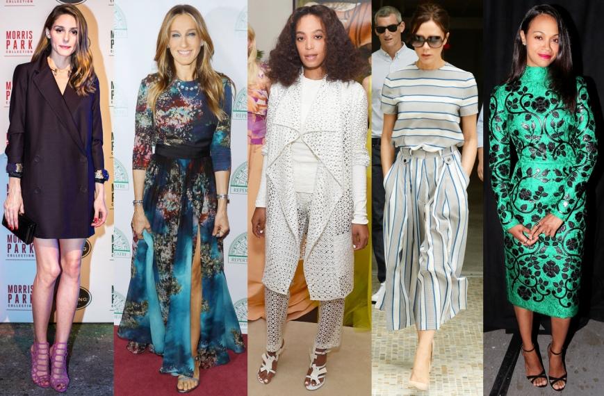Olivia Palermo, Sarah Jessica Parker, Solange Knowles, Victoria Beckham, & Zoe Saldana.