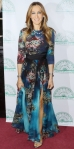 Sarah Jessica Parker in a printed Elie Saab dress with layered necklaces & embellished sandals at the Irish Repertory Theatre's YEATS The Celebration event.