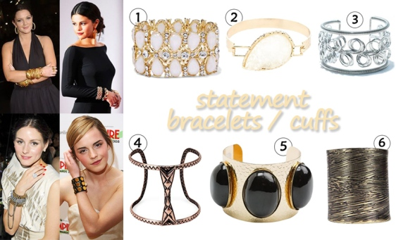 Drew Barrymore, Selena Gomez, Olivia Palermo, & Emma Watson in statement bracelets. 1. teardrop stretch bracelet ($7.99) @New York & Company, 2. hammered stone cuff ($6.00) @Charlotte Russe, 3. curly cuff ($10.00) in silver @Shoptiques, 4. cut-out cuff bracelet ($4.90) @Forever 21, 5. large bead cuff ($5.85) in black @Swell, & 6. engraved cuff ($8.00) @Boohoo.