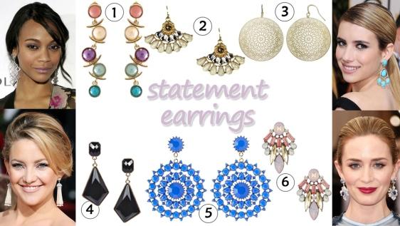Zoe Saldana, Kate Hudson, Emma Roberts, & Emily Blunt in statement earrings. 1. circular long earrings ($4.29) @Chic Nova, 2. fan statement earrings ($7.99) @Target, 3. Jennifer Lopez geometric disc earrings ($9.00) @Kohl's, 4. gem drop earrings ($7.00) in black @Boohoo, 5. faceted drop earrings ($6.00) in blue @Charlotte Russe, & 6. statement stud earrings ($9.97) in pink @Nordstrom Rack.