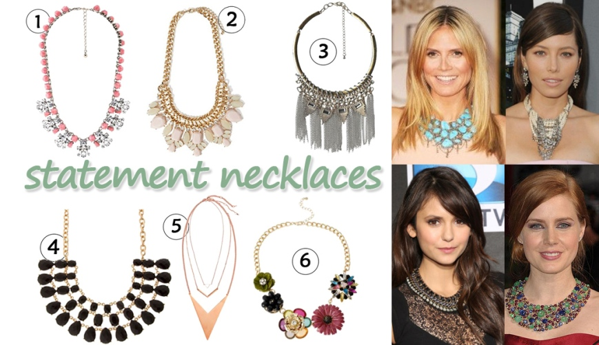 Heidi Klum, Jessica Biel, Nina Dobrev, & Amy Adams in statement necklaces. 1. facet stone statement necklace ($3.49) in pink @Charlotte Russe, 2. gem statement necklace ($8.90) in nude @Forever 21, 3. chain collar necklace ($6.98) @Target, 4. layered statement necklace ($5.00) in black @Icing, 5. 3-layer necklaces ($9.99) in rose gold @H&M, & 6. flower statement necklace ($7.99) @JC Penney.