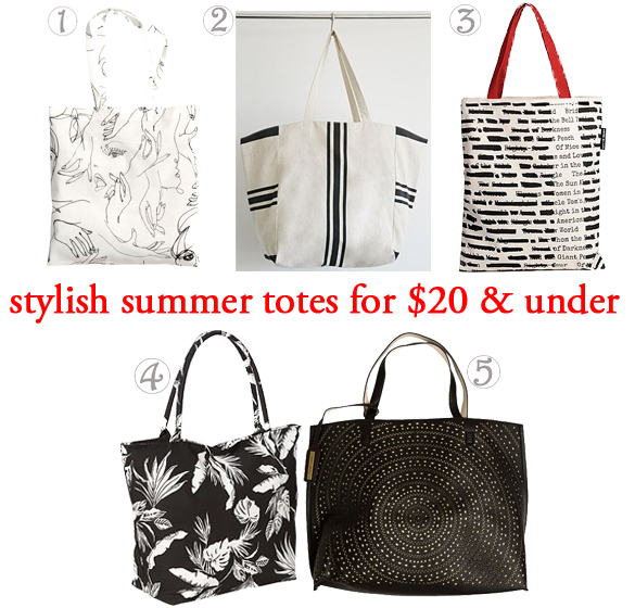 Stylish Summer Totes for $20 & Under. 1. patterned tote ($9.95) @H&M, 2. striped textured cotton tote ($10.43) in cream / black @Forever 21, 3. banned books tote bag ($18.00) @Uncommon Goods, 4. tropical print tote ($19.00) in white palm print @Old Navy, & 5. reversible lasercut tote bag ($19.49) @Swell.