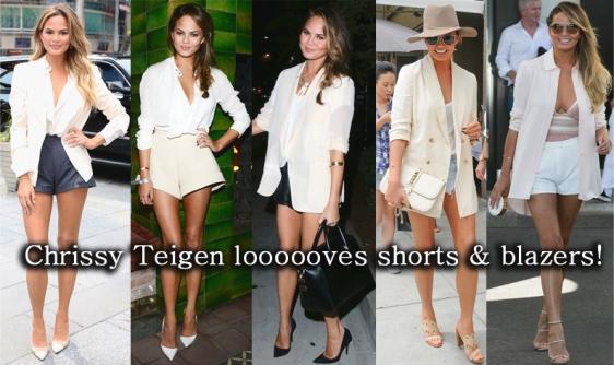Chrissy Teigen in shorts, a blazer, & heels.