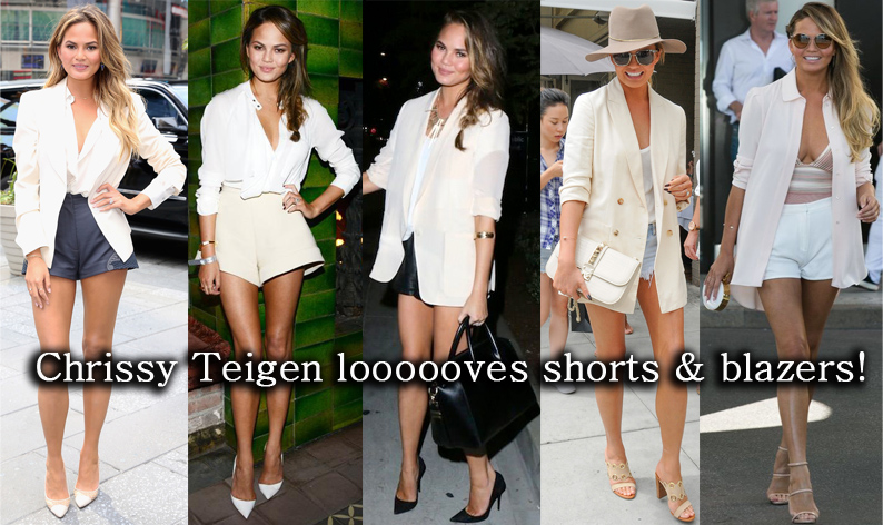 Chrissy Teigen in shorts, a blazer, & heels.