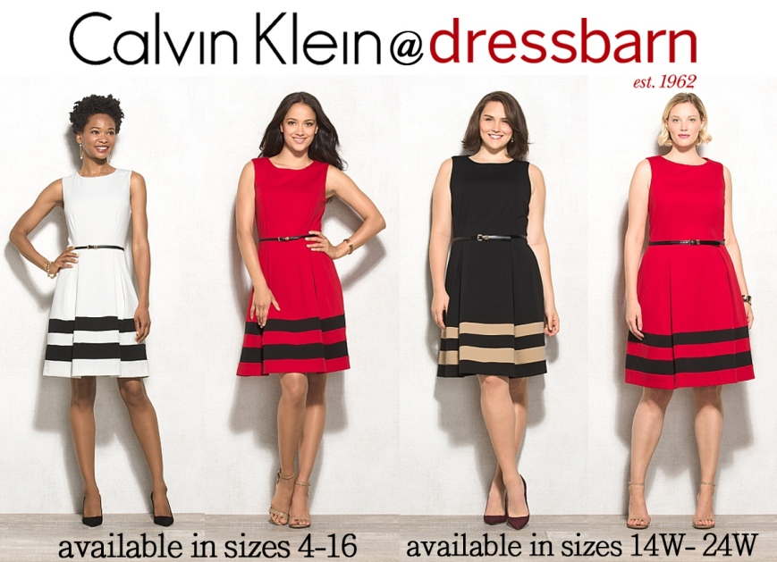 Dress Barn - Calvin Klein fit & flare color block dress