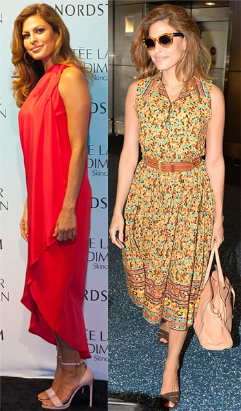 Eva Mendes in a red Halston Heritage dress at a mall in Miami for Estee Lauder New Dimension skincare & a belted floral dress at the airport.