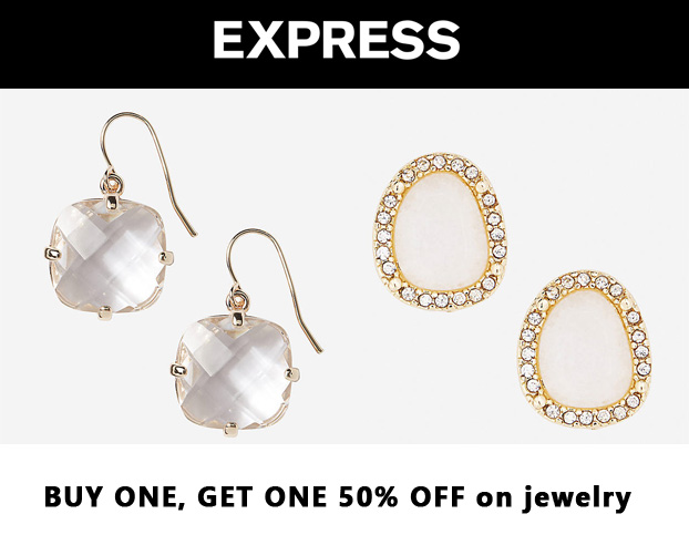 Express - faceted stone dangle earrings $!9.90 & white stone stud earrings $19.90.