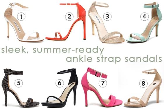 sleek, summer-ready ankle strap sandals