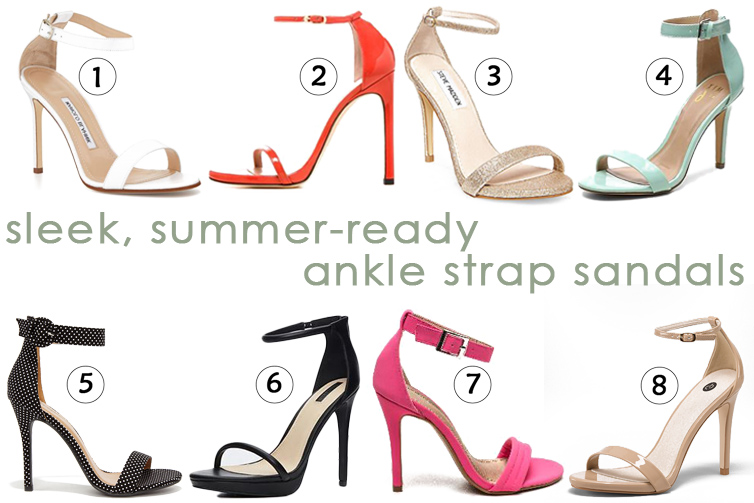 sleek, summer-ready ankle strap sandals