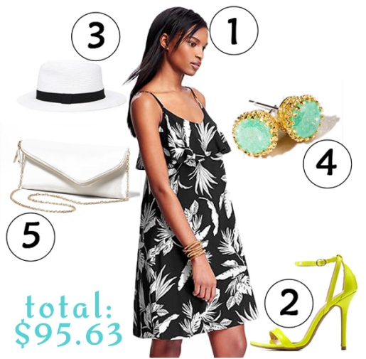 The $100 Challenge: dress ($30.00) in black / white @Old Navy, heels ($25.00) in lemon @Charlotte Russe, hat ($12.90) in white / black @Forever 21, studs ($8.99) @Francesca's, & clutch ($14.75) in ivory @Dress Barn.