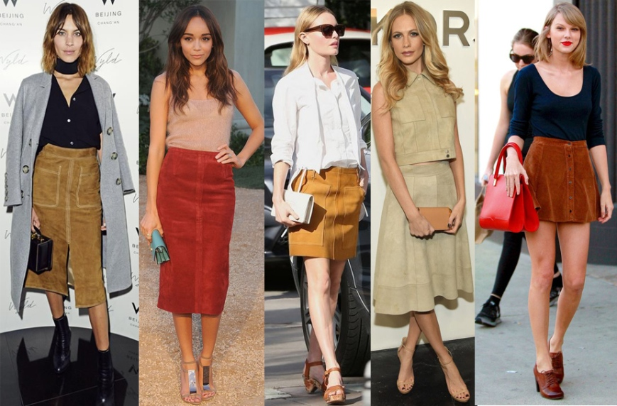 Alexa Chung, Ashley Madekwe, Kate Bosworth, Poppy Delevingne, & Taylor Swift in suede skirts.