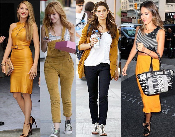 Blake Lively, Bella Thorne, Ashley Greene, & Jessica Alba in mustard.