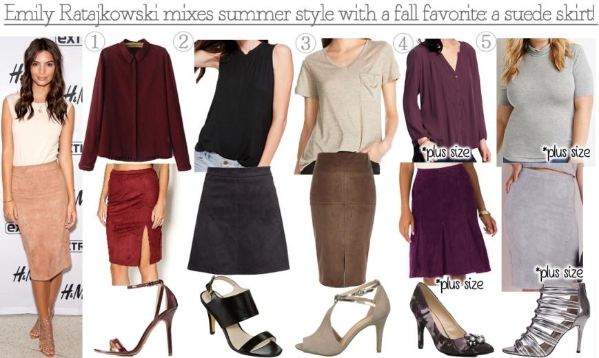 Emily Ratajkowsi-inspired suede skirt & heels looks