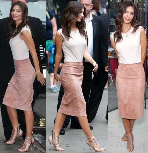 Emily Ratajkowski in a neutral Atea Oceanie top with a suede Brunello Cucinelli skirt & metallic Sophia Webster sandals in New York City