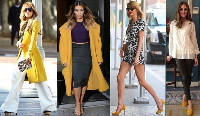 Jennifer Lopez, Kim Kardashian West, Taylor Swift, & Olivia Palermo in mustard.