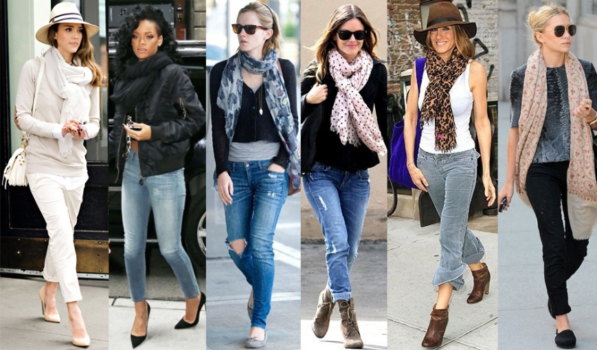 Jessica Alba, Rihanna, Emma Watson, Rachel Bilson, Sarah Jessica Parker, & Ashley Olsen in scarves.