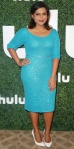 Mindy Kaling shimmered in an aqua sequin pencil dress with white pointy toe pumps at the Hulu 2015 Summer TCA Presentation.