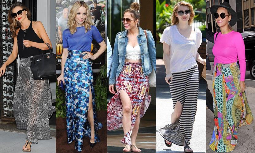 Miranda Kerr, Rachel McAdams, Jennifer Lopez, Emma Roberts, & Beyonce in maxi skirts.