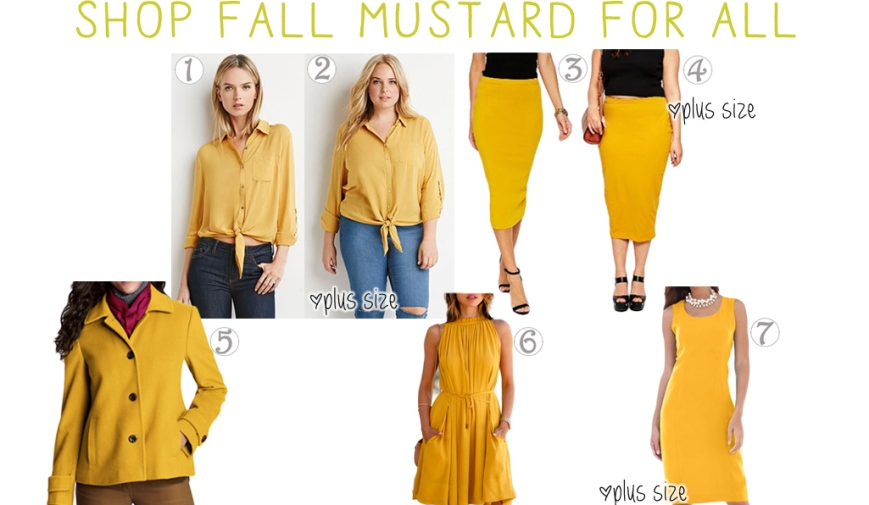 Shop fall mustard for all. Tops, skirts, jackets, & dresses.