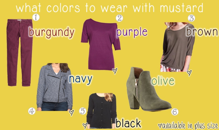 What colors to wear with mustard.