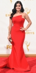 Ariel Winter in a red strapless Romona Keveza column gown.