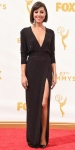 Aubrey Plaza in a black shimmering Alexandre Vauthier deep-v gown.