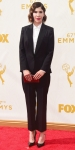 Carrie Brownstein in a black pantsuit by Stella McCartney.