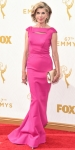 Christine Baranski in a hot pink column dress.