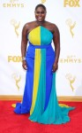 Danielle Brooks in a color block custom Christian Siriano gown.