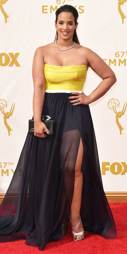 Dascha Polanco in a black & yellow dress. | Style Darling Daily