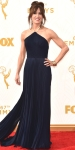 Felicity Huffman in a black pleated gown by Laura Basci.