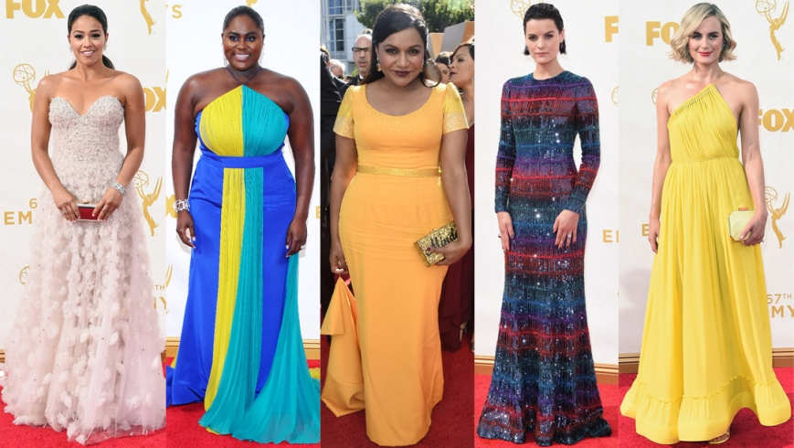 Gina Rodriguez, Danielle Brooks, Mindy Kaling, Jaimie Alexander, & Taylor Schilling at the 2015 Emmy's.