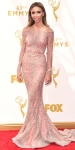 Giuliana Rancic in a pink beaded long sleeve gown with Forevermark jewelry & Giuseppe Zanotti shoes.