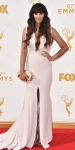 Jackie Cruz in a white deep-v high slit gown.