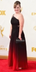 Jamie Brewer in a black & red ombre jeweled gown.