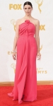 Jessica Paré in a pink strapless Monse gown with flower knot.