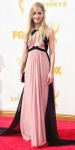 Joanne Froggatt in a pink & black ruched J.Mendel with Jimmy Choo shoes.