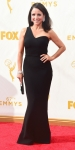Julia Louis-Dreyfus in a black one-shoulder Safiyaa design.