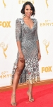 Kerry Washington in a metallic silver chainlink mesh Marc Jacobs dress with Harry Winston jewelry.