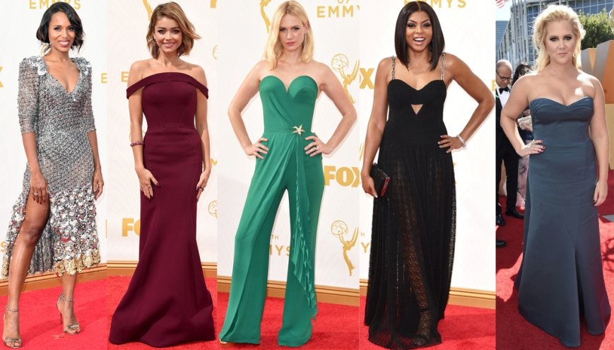 Kerry Washington, Sarah Hyland, January Jones, Taraji P. Henson, & Amy Schumer at the 2015 Emmys.