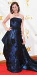 Kristen Schaal in a midnight blue strapless gown by Rubin Singer.