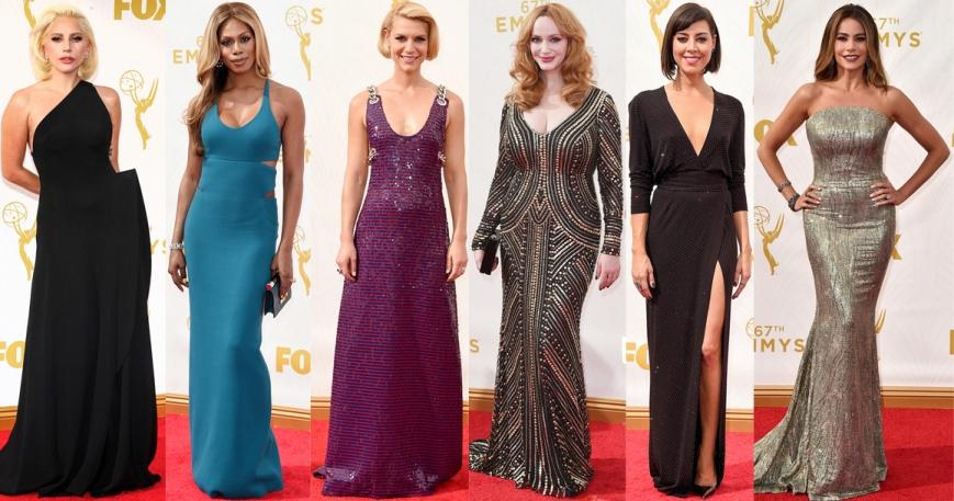 Lady Gaga, Laverne Cox, Claire Danes, Christina Hendricks, Aubrey Plaza, & Sofia Vergara athe 2015 Emmy's.
